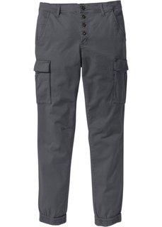 Эластичные брюки-карго Slim Fit Straight (антрацитовый) Bonprix