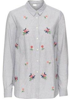 Блузка с цветочной вышивкой (серый) Bonprix