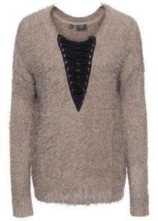 Вязаный пуловер на шнуровке (черный/серо-коричневый) Bonprix