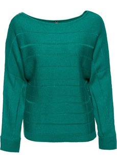 Пуловер с декоративной молнией (темно-изумрудный) Bonprix