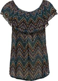 Прозрачная блузка-кармен (синий с узором) Bonprix