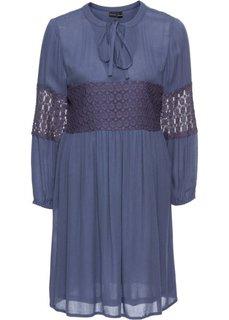 Платье с кружевными аппликациями (синий) Bonprix