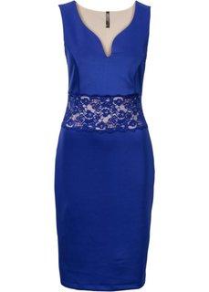 Платье с кружевной вставкой (синий) Bonprix