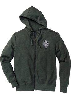 Трикотажная куртка Slim Fit (оливковый меланж) Bonprix