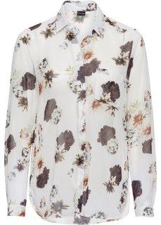 Шифоновая блузка (цвет белой шерсти с рисунком) Bonprix