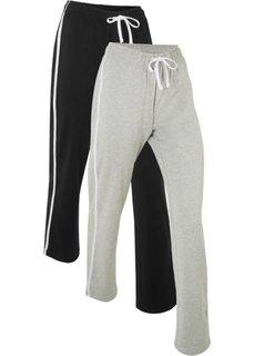 Трикотажные брюки (2 шт.) (черный/светло-серый меланж) Bonprix
