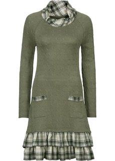 Вязаное платье с эффектом многослойности (оливковый в клетку) Bonprix