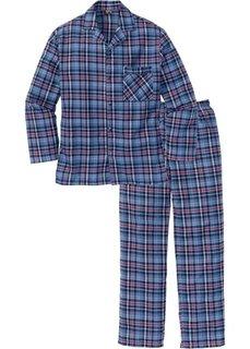 Фланелевая пижама свободного покроя. (синий в клетку) Bonprix