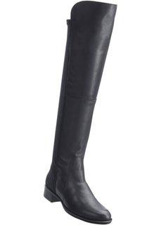Ботфорты с кожаными деталями (черный) Bonprix
