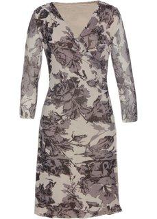 Трикотажное платье из сеточки (светло-серый/антрацитовый/черный с принтом) Bonprix