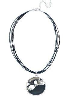 Цепочка с эмалированным кулоном (серебристый/черный) Bonprix
