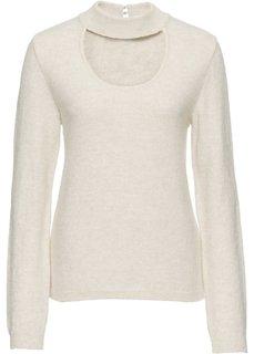Пуловер с чокером (бежевый) Bonprix
