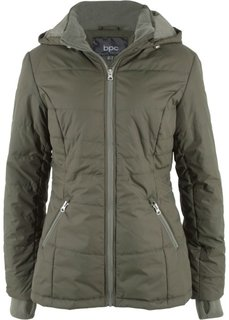 Стеганая куртка с контрастными молниями (темно-оливковый) Bonprix