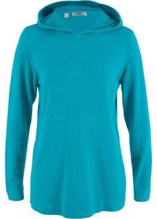 Пуловер с капюшоном (темно-бирюзовый) Bonprix