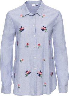 Блузка с цветочной вышивкой (синий) Bonprix