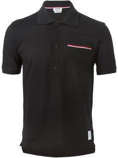 футболка-поло с контрастными полосками   Thom Browne