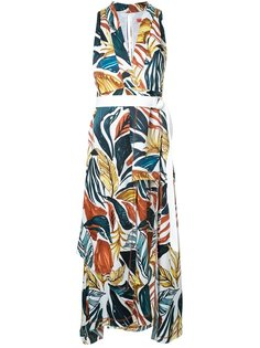 платье-миди с принтом в виде листьев Manning Cartell