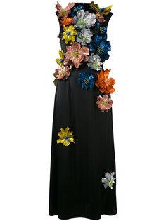 платье без рукавов с декором из цветов Christopher Kane