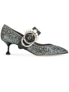 блестящие туфли-лодочки на каблуке-рюмочке Miu Miu