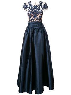 длинное платье с кружевным верхом Marchesa Notte