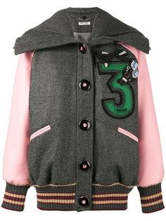 свободная куртка-бомбер с вышивкой  Miu Miu