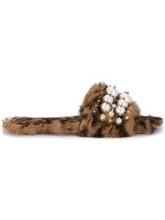 сандалии с отделкой из кроличьего меха Miu Miu