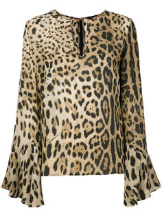 леопардовая блузка с расклешенными рукавами Cavalli Class