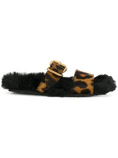 сандалии с леопардовыми ремешками Prada