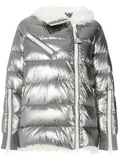 дутое пальто с отделкой из овчины  Moncler