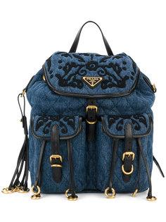 джинсовый рюкзак с вышивкой Prada