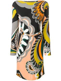 платье мини с принтом и вырезом лодочкой  Emilio Pucci