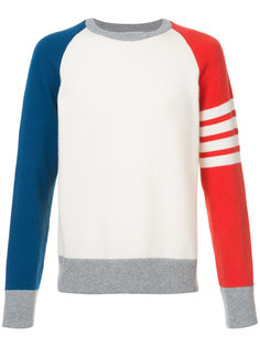 FULLY FASHIONED FRENCH TERRY CREWNECK SWEATSHIRT WITH 4-BAR STRIPE IN FUNMIX CASHMERE Thom Browne