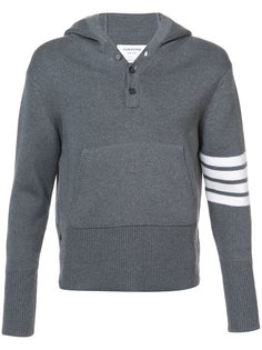 Pullover Hoodie With Rib Stitch In Grey Merino Thom Browne