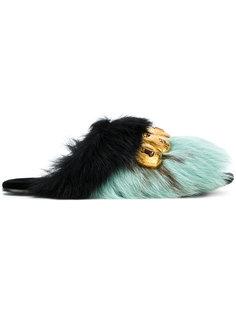 сандалии с отделкой из меха норки Prada