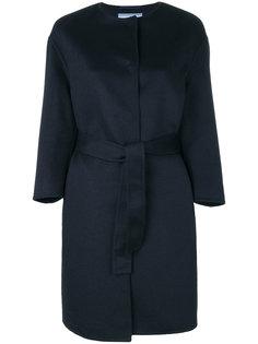 однобортное пальто с поясом Prada