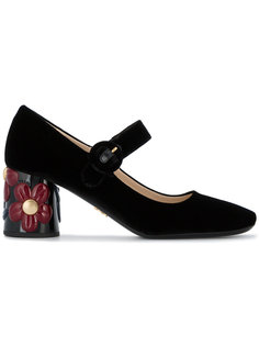 туфли Мэри Джейн с цветочным узором на каблуке Prada