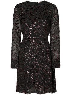 sheer sleeve glitter mini dress Adam Lippes