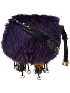 сумка на плечо с меховой отделкой Prada