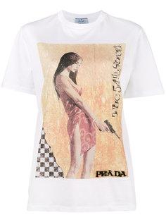 футболка с графическим принтом и украшением из бусин Prada