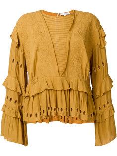 блузка с вышивкой и оборкой  Iro