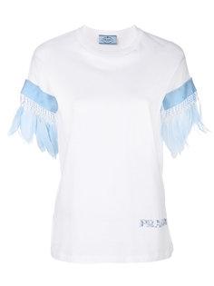 футболка с перьями на рукавах Prada