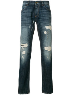 джинсы кроя слим с рваными деталями Dolce & Gabbana
