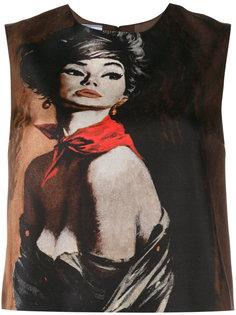 блузка без рукавов с графическим принтом Prada