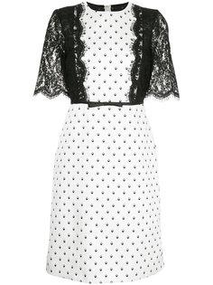 платье с кружевной вставкой в горошек  Giambattista Valli