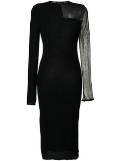 sheer panel slim-fit dress Andrea Yaaqov