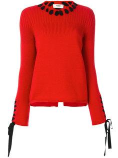 свитер с кружевными деталями Fendi
