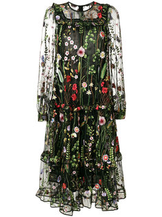 floral embroidered sheer dress Odeeh
