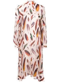 платье с принтом перьев  Paul Smith