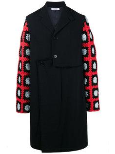 однобортное пальто с контрастными рукавами J.W.Anderson