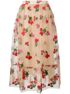 юбка из тюля с цветочной вышивкой Simone Rocha